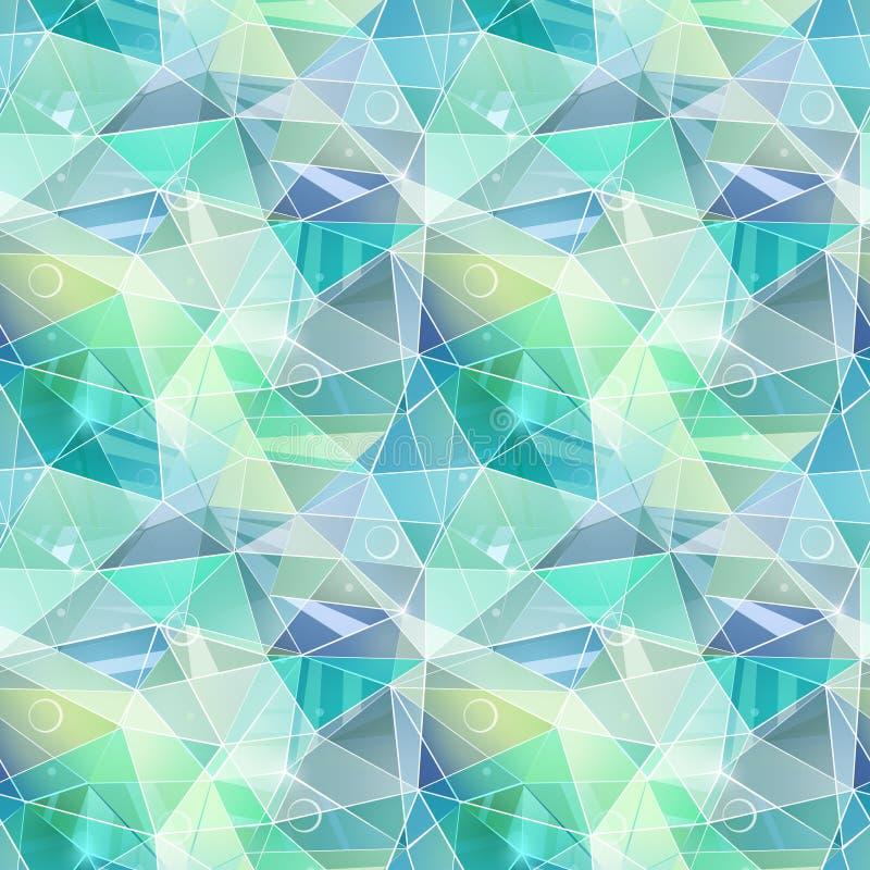 Teste padrão geométrico poligonal sem emenda Turquesa, cinza, triângulos verdes ilustração royalty free