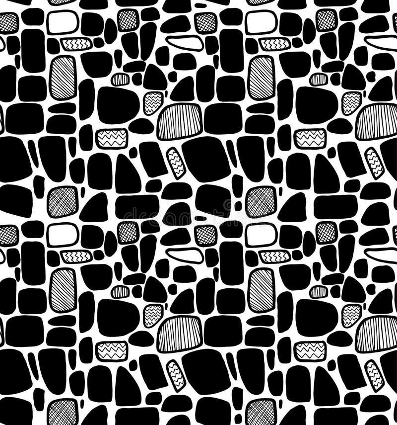 Teste padrão geométrico preto e branco abstrato. Telhas decorativas ilustração royalty free