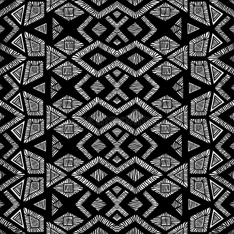 Teste padrão geométrico preto e branco Fundo sem emenda handmade ilustração do vetor