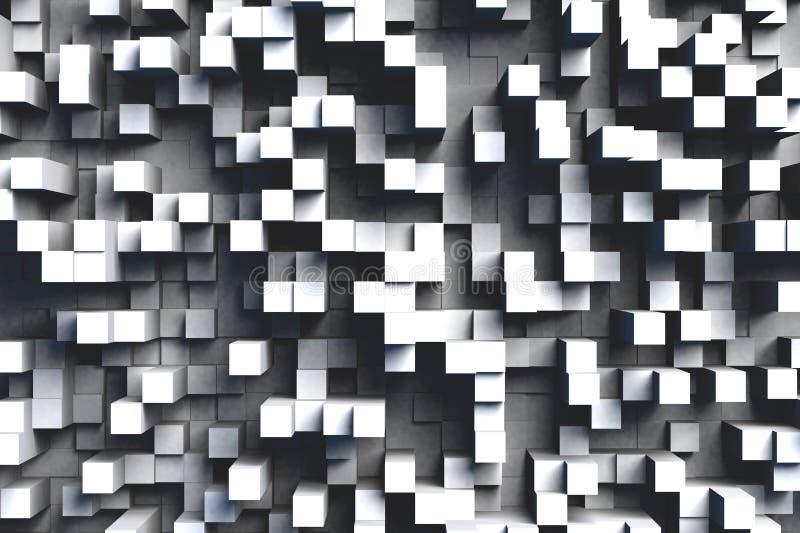 Teste padrão geométrico preto e branco ou cinzento abstrato do projeto do fundo das telhas do cubo 3d na luz brilhante ilustração royalty free