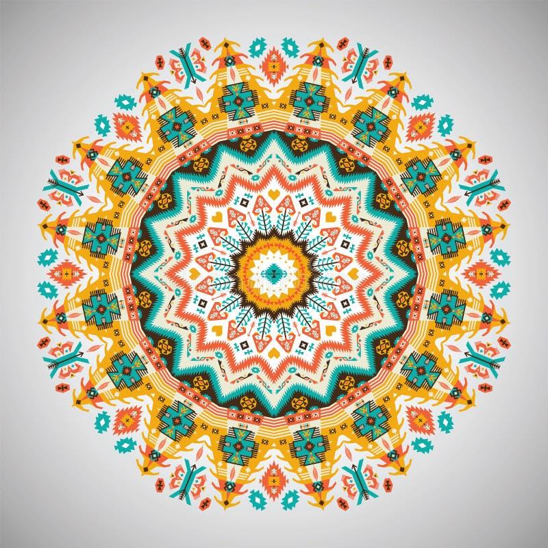 Teste padrão geométrico redondo decorativo no estilo asteca ilustração do vetor