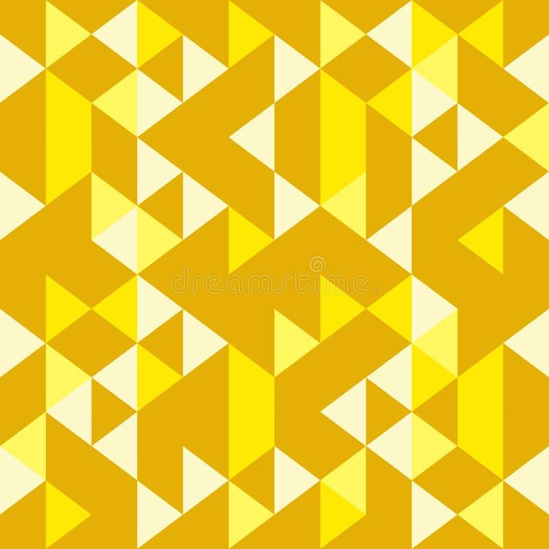 Teste padrão geométrico sem emenda amarelo dourado do triângulo colorido ilustração stock