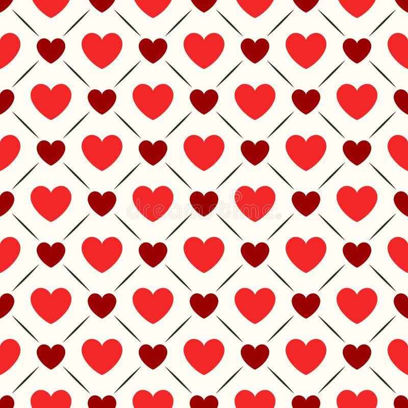 Teste padrão geométrico sem emenda com corações Vetor ilustração stock