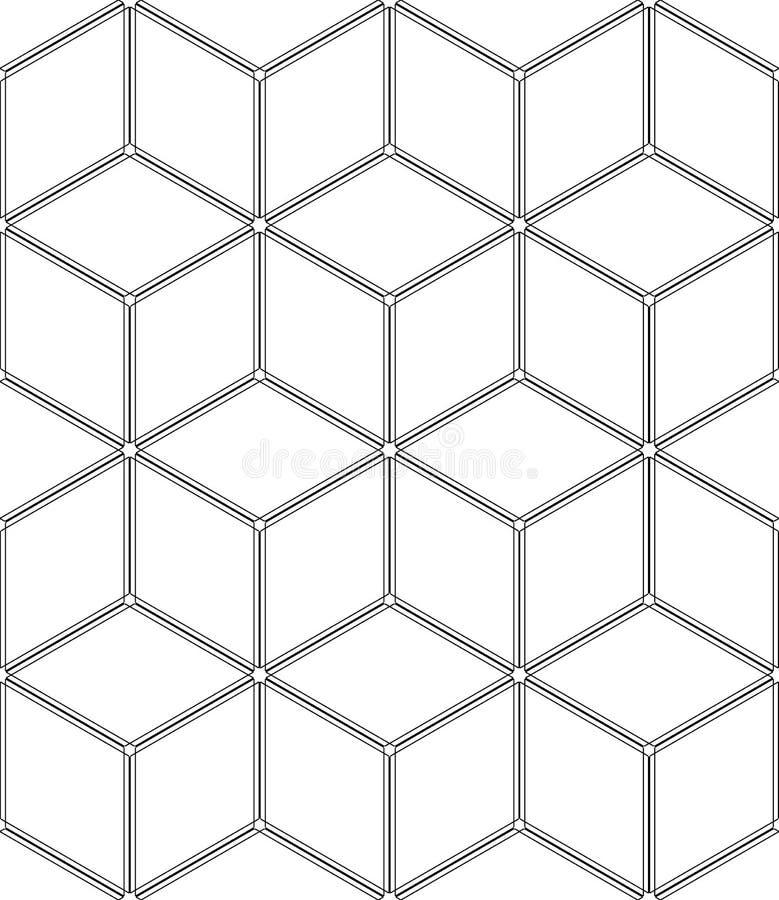 Teste padrão geométrico sem emenda da arte op ilusão 3D Fundo e textura isométricos brancos ilustração do vetor