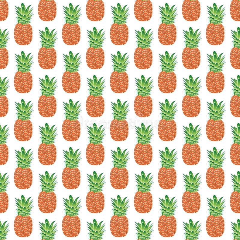 Teste padrão geométrico sem emenda de abacaxis alaranjado-verdes em um fundo branco, vetor ilustração royalty free