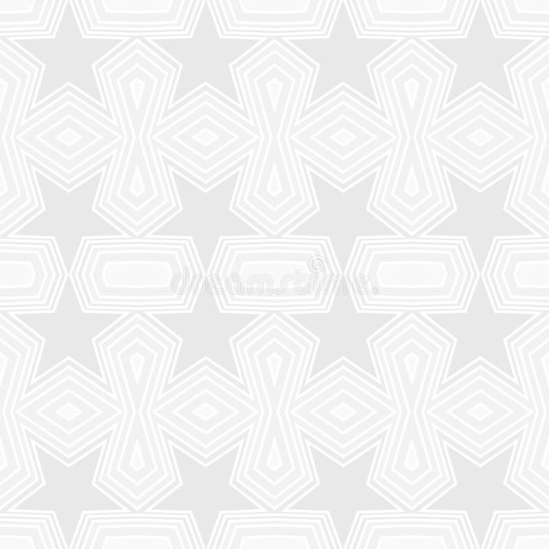 Teste padr?o geom?trico sem emenda de estrelas cinzentas e de formas do pol?gono com linhas brancas Ilustra??o lisa do vetor do p ilustração royalty free