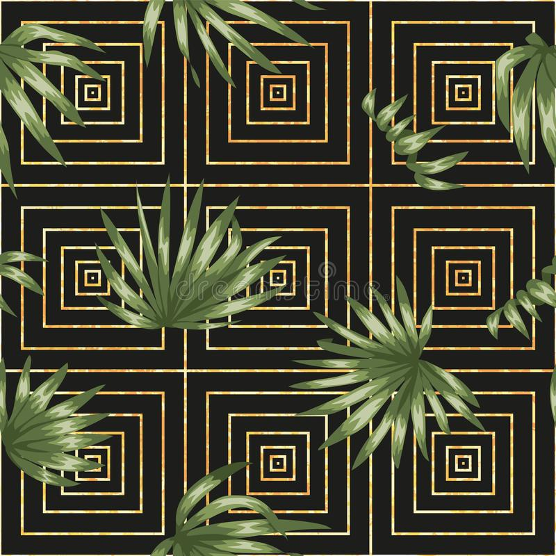 Teste padrão geométrico sem emenda do vetor com as folhas verdes da palmeira no fundo preto ilustração do vetor