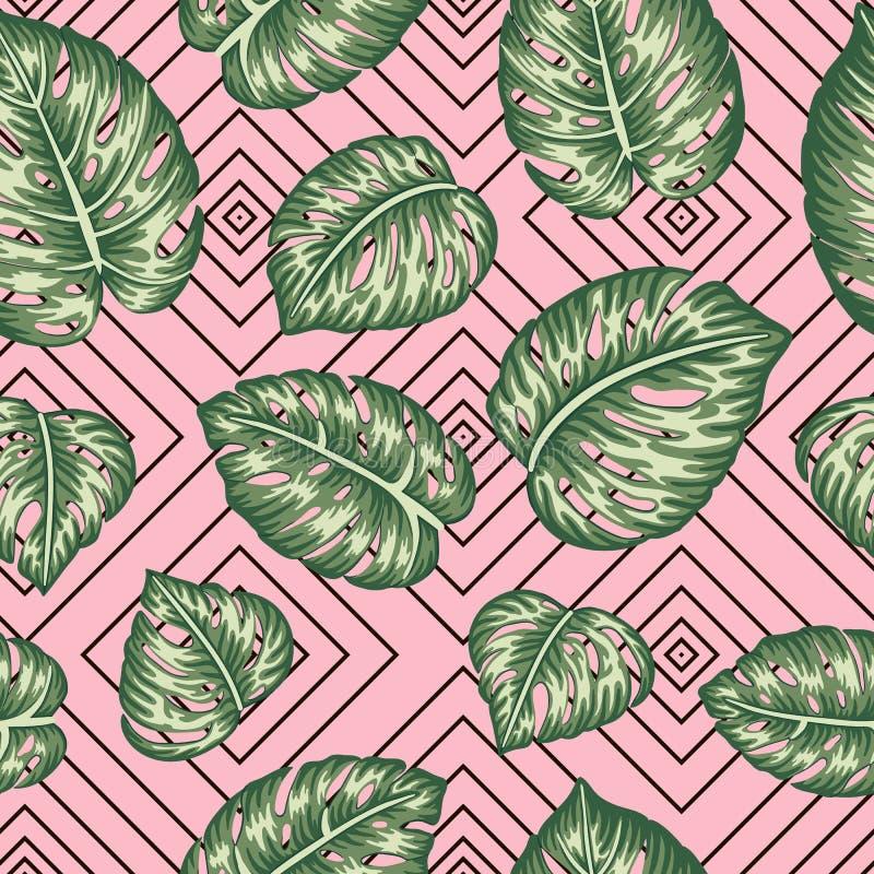 Teste padrão geométrico sem emenda do vetor com as folhas verdes do monstera no fundo cor-de-rosa ilustração stock