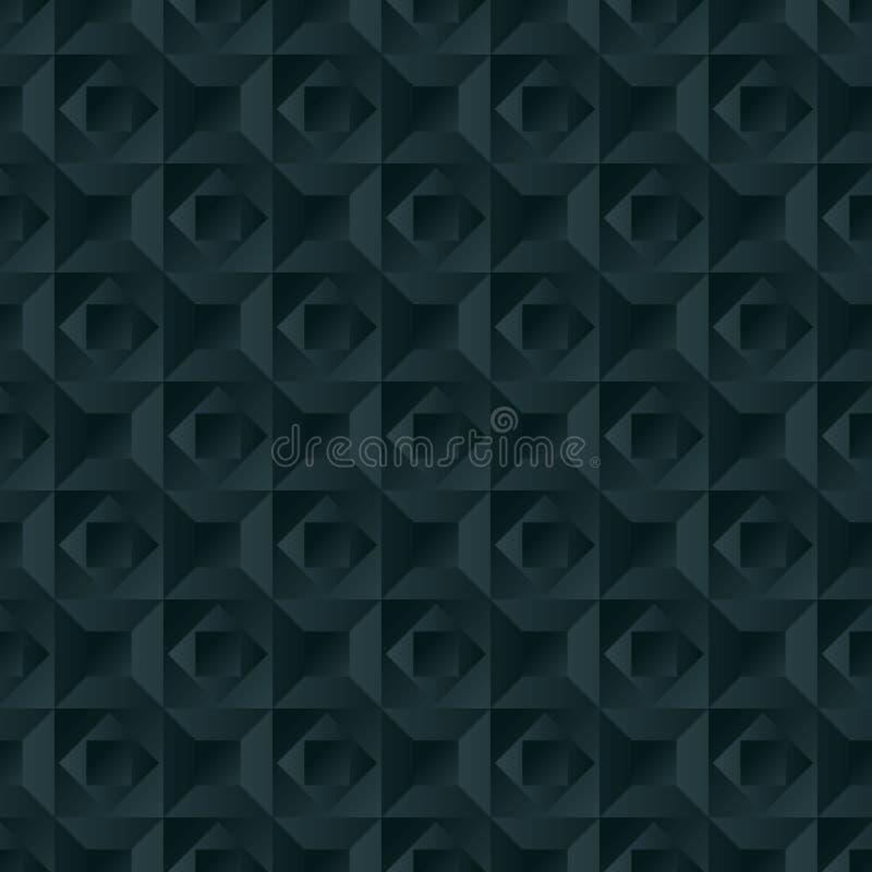 Teste padrão geométrico sem emenda do vetor com as formas que overlaping nas fileiras, fundo do vetor do efeito 3d, minimalistic ilustração stock