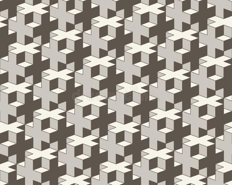 Teste padrão geométrico sem emenda do vetor cruz 3D que telha o fundo abstrato ilustração royalty free