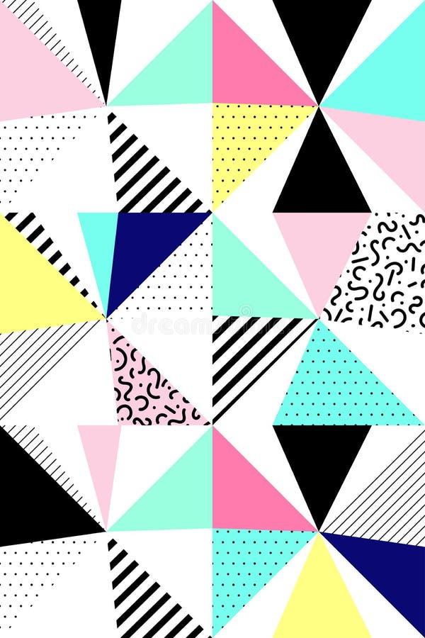Teste padrão geométrico sem emenda do vetor Estilo de Memphis 80s abstrato ilustração stock