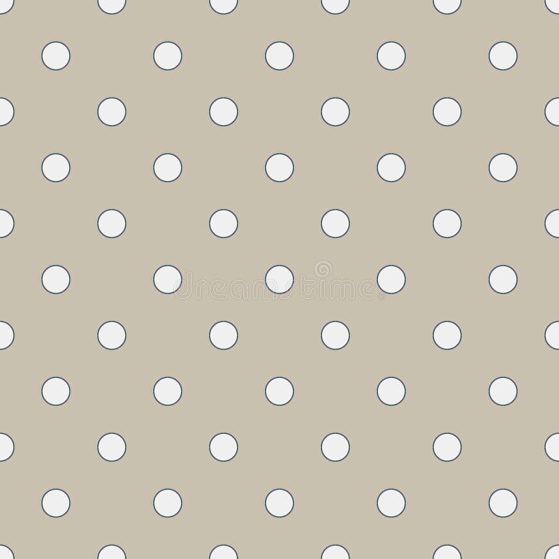 Teste padrão geométrico sem emenda em às bolinhas brancos bonitos na serapilheira afeiçoada A cópia para a matéria têxtil, fabric ilustração stock