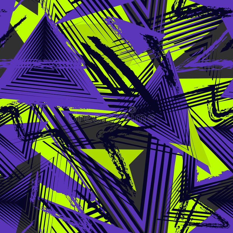 Teste padrão geométrico sem emenda, estilo do esporte Textura urbana de Grunge ilustração stock