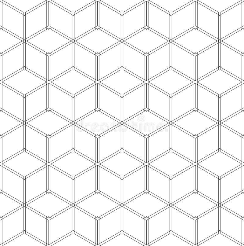 Teste padrão geométrico sem emenda estrutura do wireframe 3D ilustração do vetor