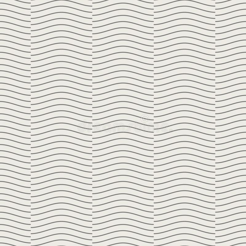 Teste padrão geométrico sem emenda, linha sobreposição da onda na luz - o fundo marrom, listra o molde abstrato, ilustração do ve ilustração stock