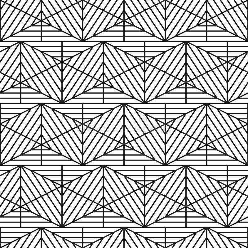 Teste padrão geométrico sem emenda listrado do vetor - projeto decorativo Textura criativa da grade Fundo monocromático à moda ilustração stock