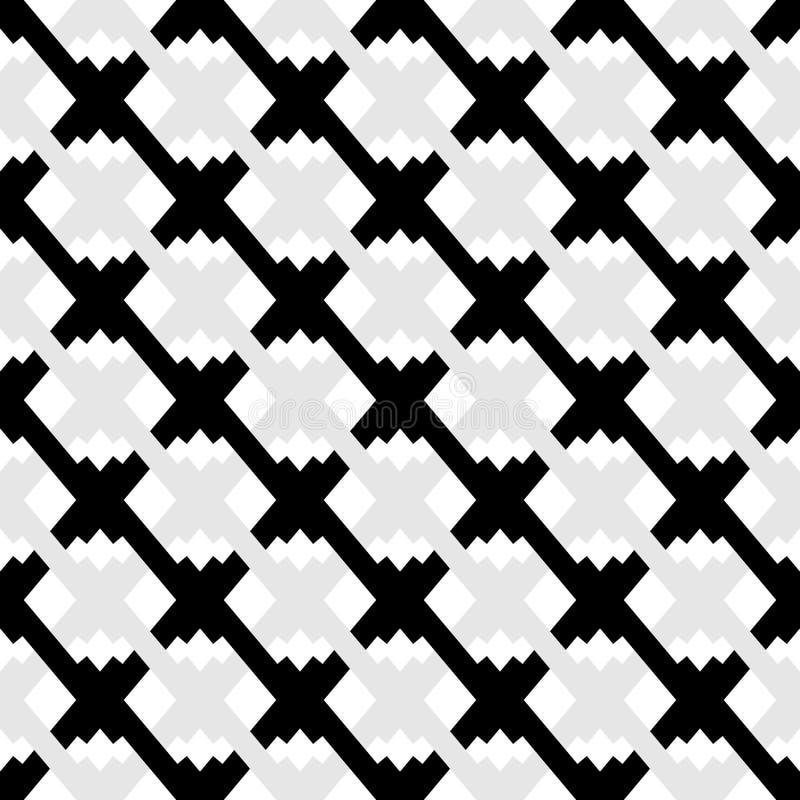 Teste padrão geométrico sem emenda preto e branco Textura repetível ilustração stock