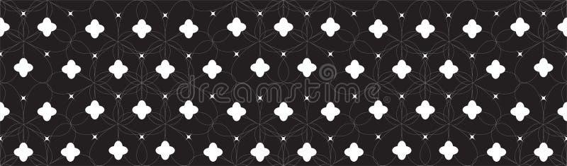 Teste padrão geométrico sem emenda simétrico com as flores abstratas brancas e fundo preto ilustração royalty free