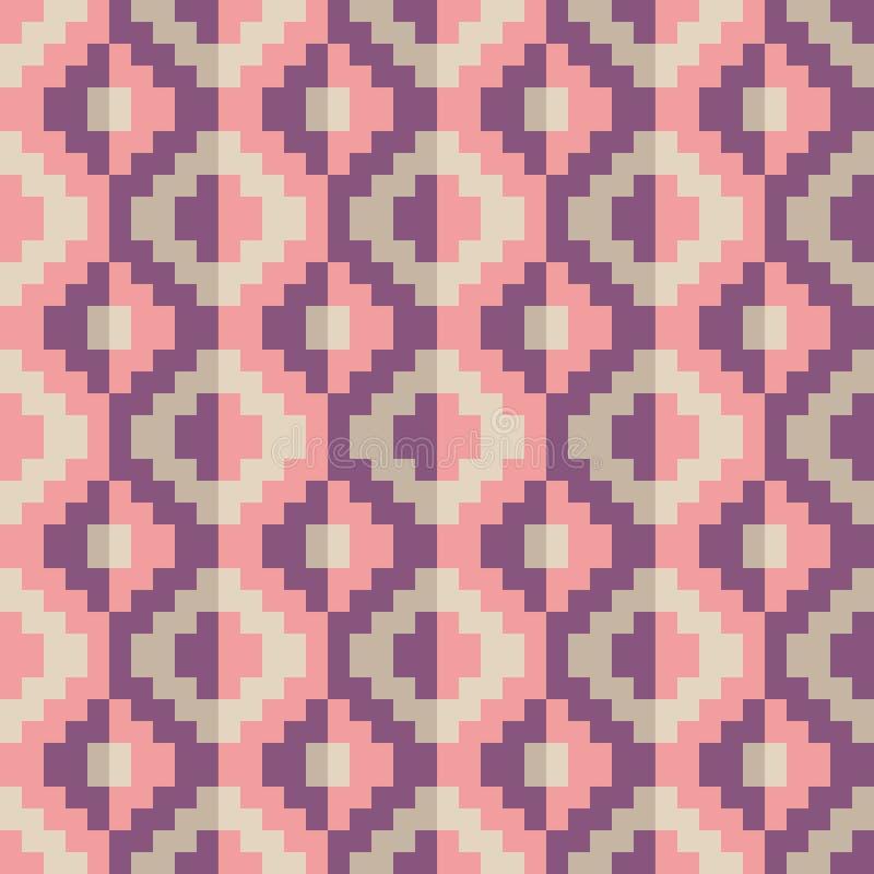 Teste padrão geomatric abstrato sem emenda do diamante do pixel no vetor ilustração stock