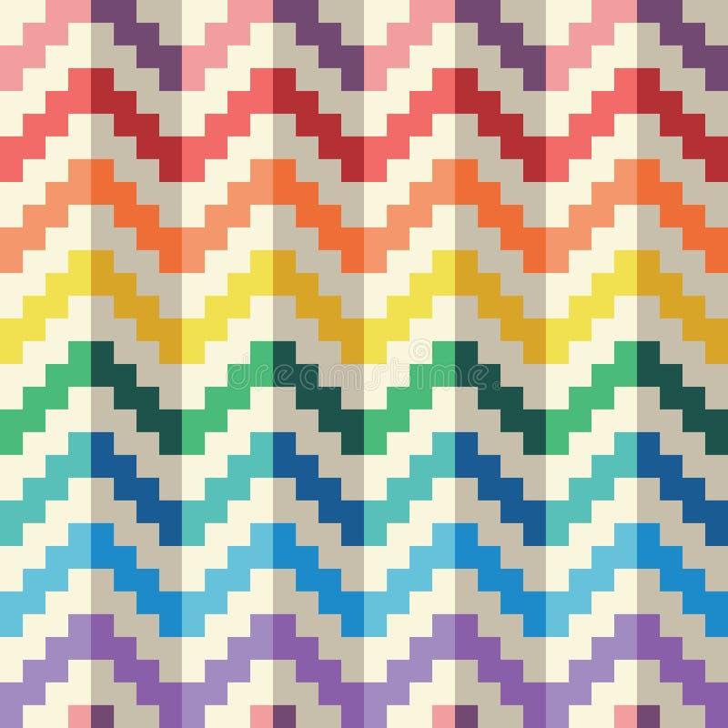 Teste padrão geomatric abstrato sem emenda do vetor do ziguezague do arco-íris do pixel ilustração stock