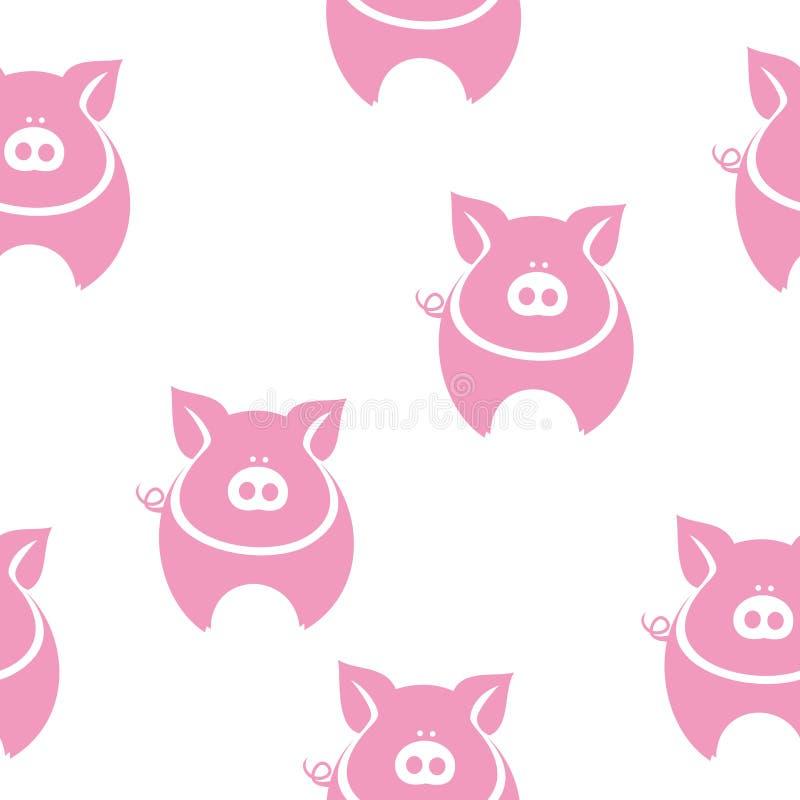 Teste padrão gordo cor-de-rosa da silhueta do porco ilustração royalty free