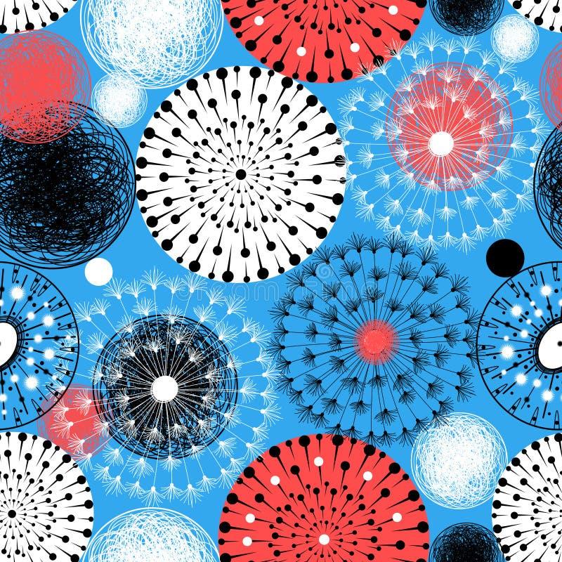 Teste padrão gráfico brilhante dos dentes-de-leão e dos círculos ilustração do vetor
