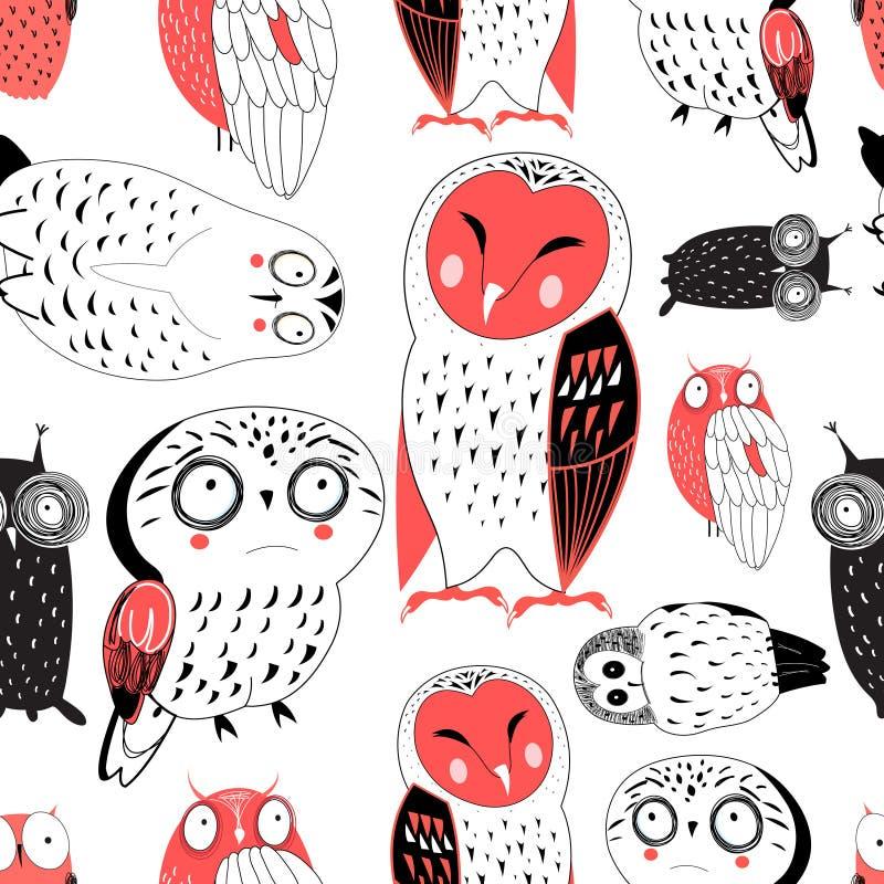 Teste padrão gráfico sem emenda do vetor de corujas engraçadas ilustração do vetor