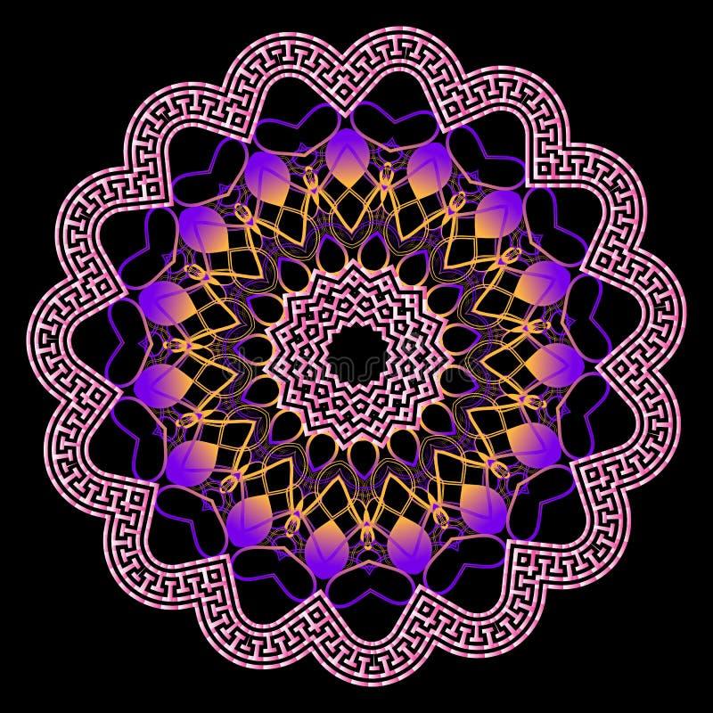 Teste padrão grego de incandescência colorido da mandala do vetor Ornamento de incandescência cor-de-rosa violeta do estilo do fr ilustração do vetor