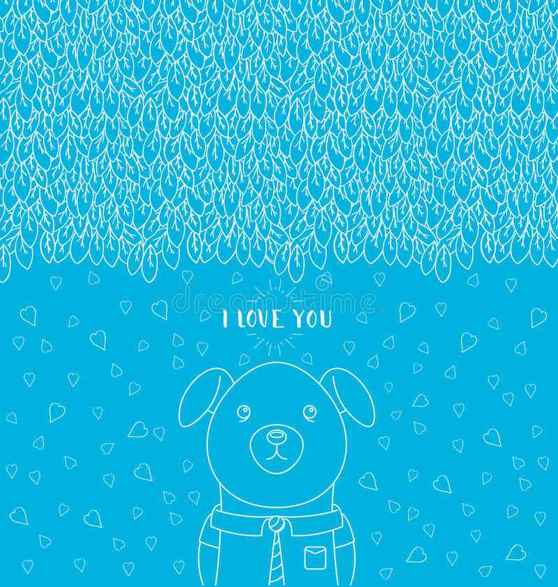 Teste padrão hand-drawn abstrato Eu te amo rotulando Cão engraçado que veste um laço e uma camisa ilustração do vetor