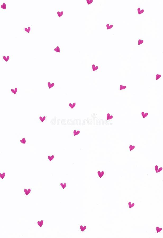 Teste padrão Handdrawn com lotes dos corações imagem de stock royalty free