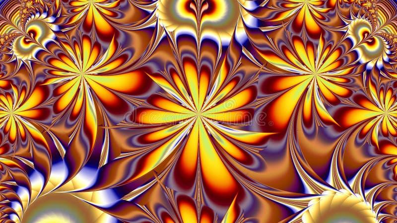 Teste padrão heterogêneo floral Pintura do Fractal ilustração royalty free