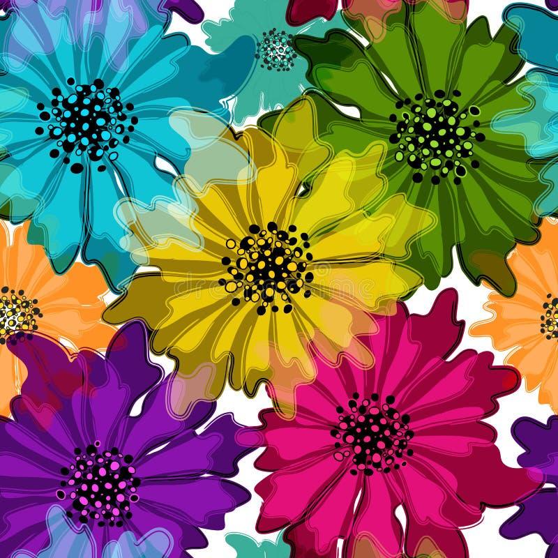 Teste padrão heterogêneo floral sem emenda ilustração do vetor