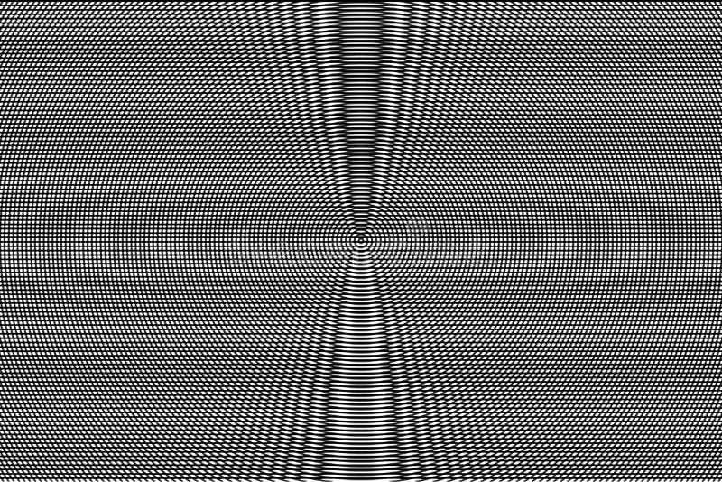 Teste padrão hipnótico branco e preto da ilusão ótica abstraia o fundo Textura monocromática do efeito do pulso aleatório ilustração royalty free