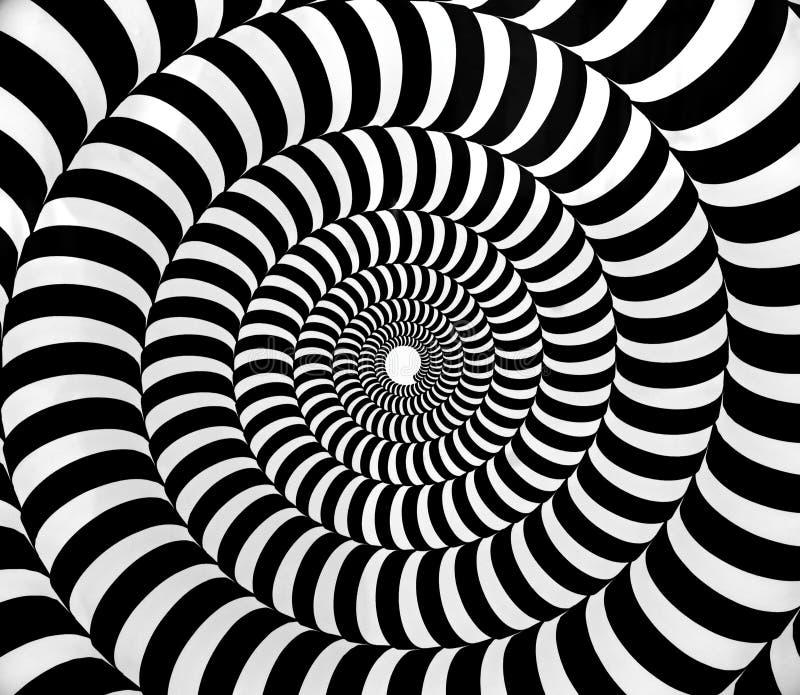 Teste padrão hipnótico psicadélico preto e branco do redemoinho ilustração royalty free