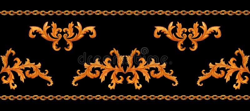 Teste padrão horizontal sem emenda da aquarela de correntes douradas e dos elementos florais de barroco isolados no fundo preto ilustração stock