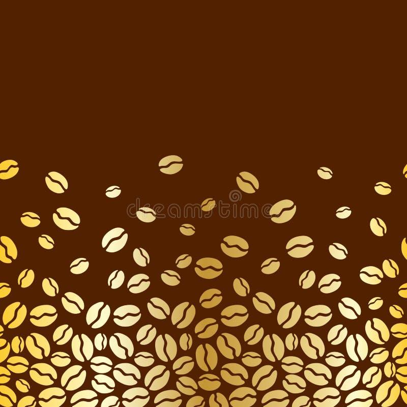 Teste padrão horizontal sem emenda dos feijões de café ilustração stock