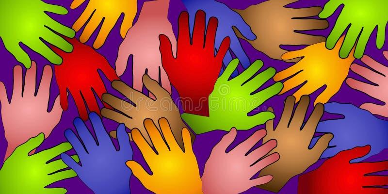 Teste padrão humano 2 das cores das mãos ilustração stock