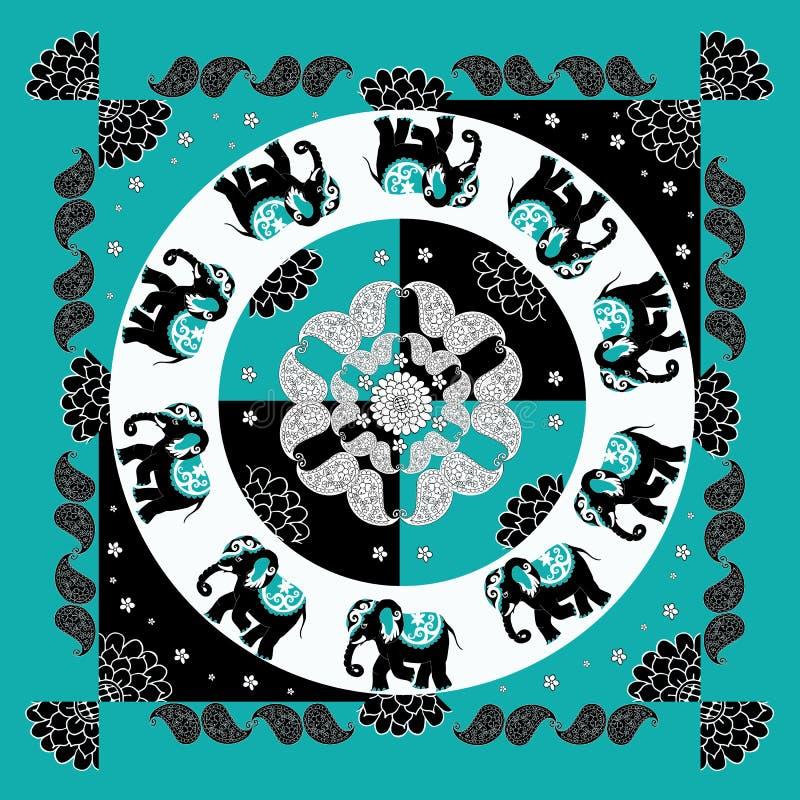 Teste padrão indiano original com dez elefantes e paisley Bandana ilustração stock