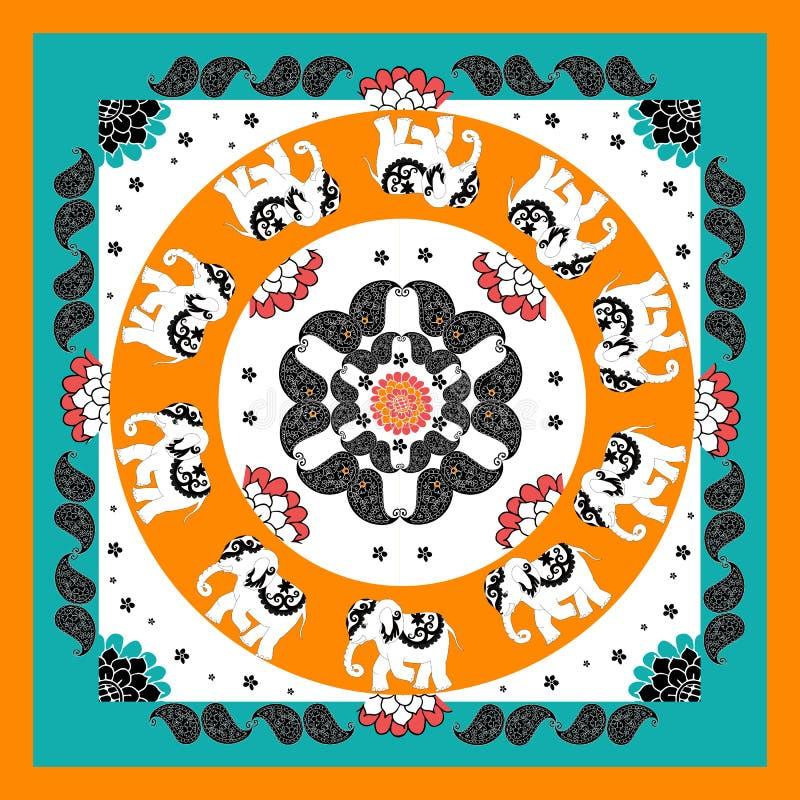 Teste padrão indiano original com dez elefantes e paisley Bandana ilustração do vetor