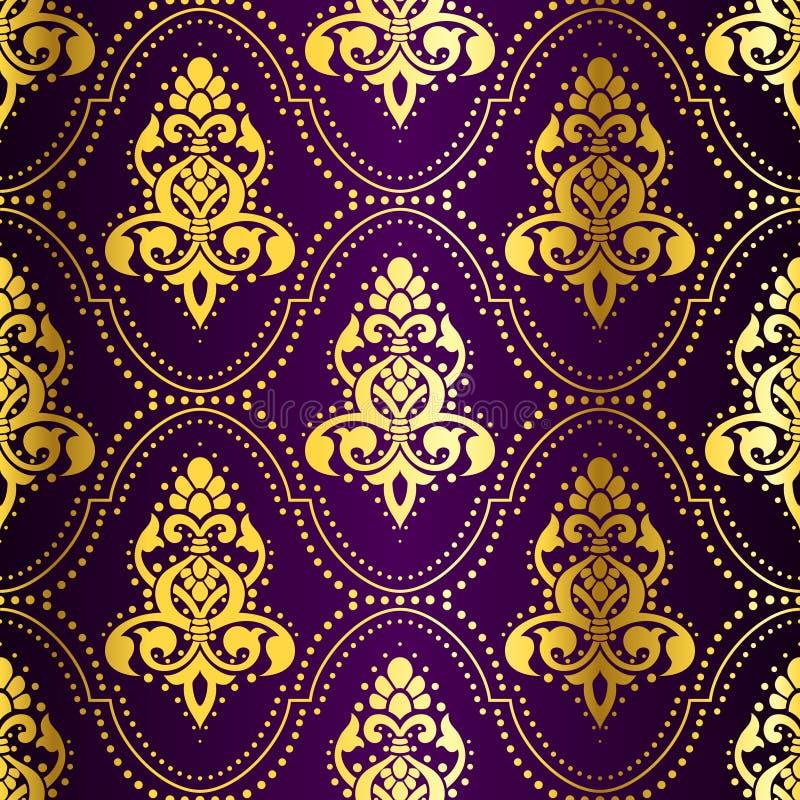 Teste padrão indiano sem emenda Ouro-em-Roxo com pontos ilustração royalty free
