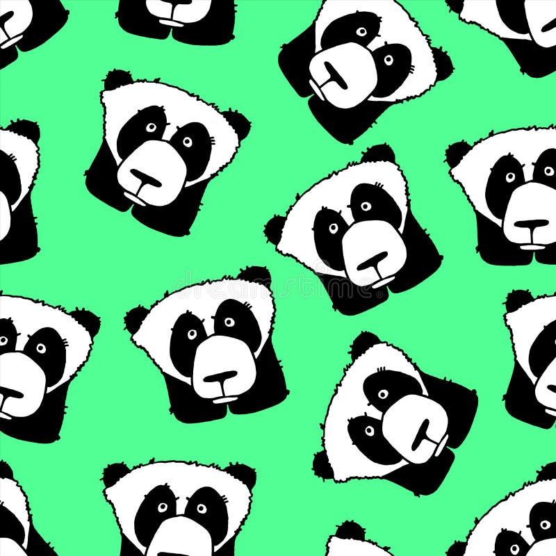 Teste padrão infinito com panda ilustração do vetor