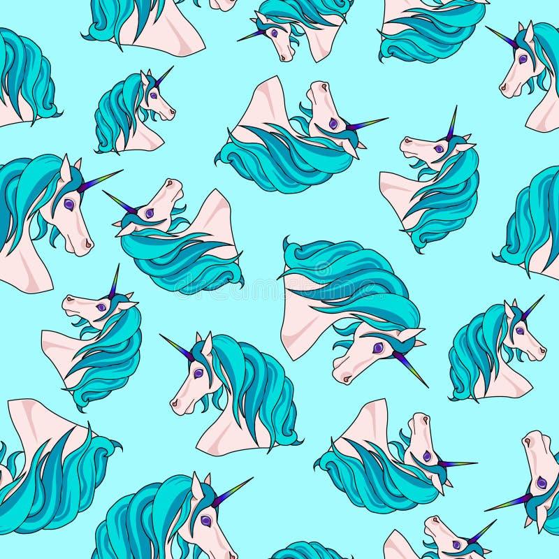 Teste padrão infinito com unicórnios azuis ilustração stock