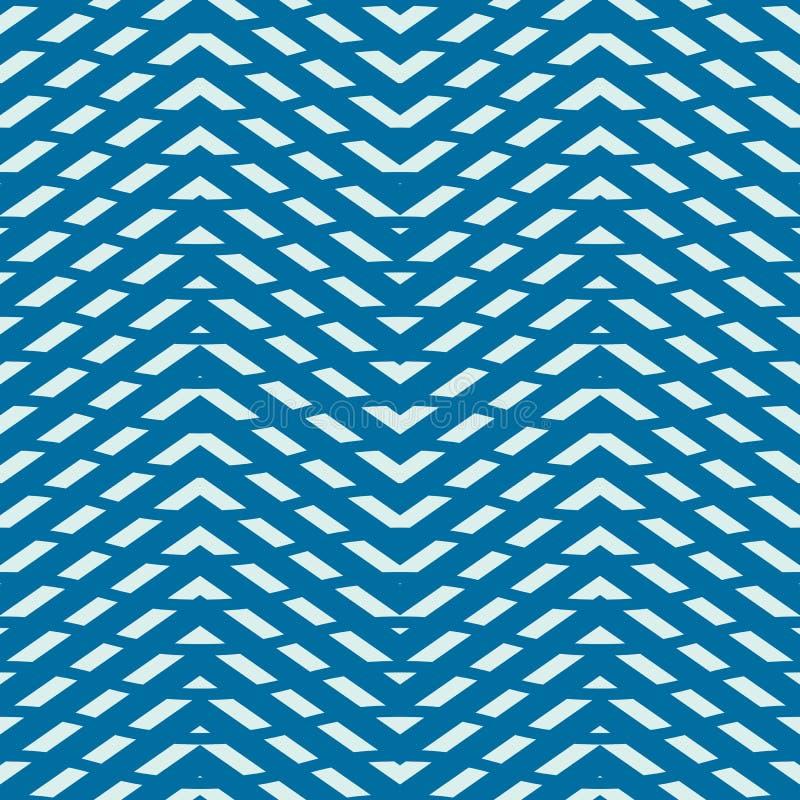 Teste padrão infinito criado com as listras finas do ziguezague, SE do vetor azul ilustração do vetor