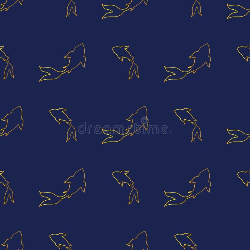 Teste padrão infinito dos peixes dourados japoneses da carpa do koi-koi ilustração stock