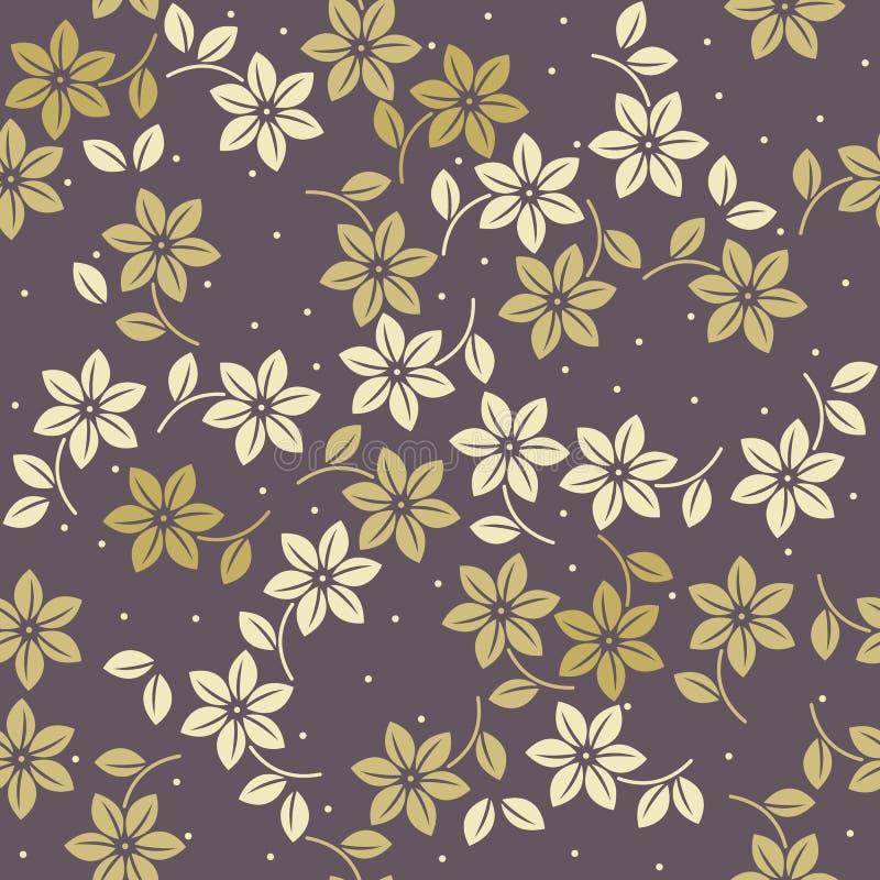 Teste padrão infinito elegante com flores e as folhas decorativas ilustração stock