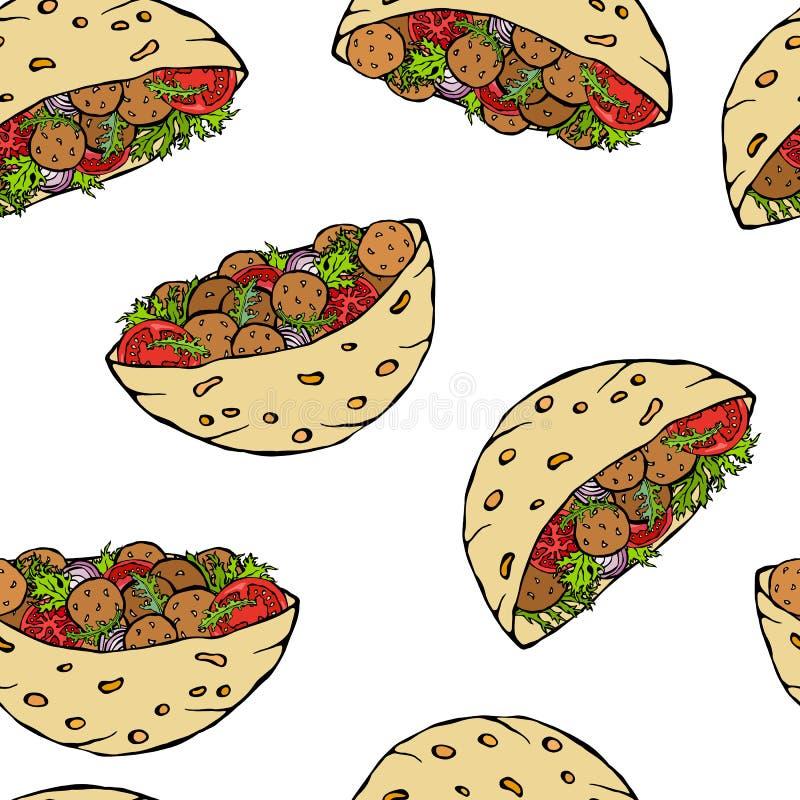 Teste padrão infinito sem emenda com pão árabe do Falafel ou salada da almôndega no pão de bolso Israel Healthy Fast Food Bakery  ilustração do vetor