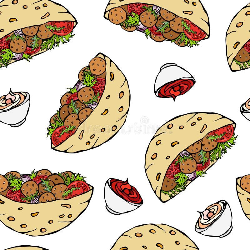 Teste padrão infinito sem emenda com pão árabe do Falafel ou salada da almôndega no pão de bolso Israel Healthy Fast Food Bakery  ilustração royalty free