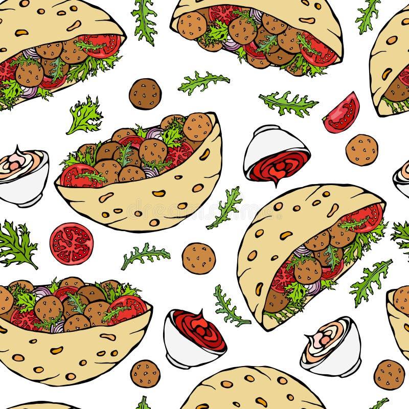 Teste padrão infinito sem emenda com pão árabe do Falafel ou salada da almôndega no pão de bolso Israel Healthy Fast Food Bakery  ilustração stock