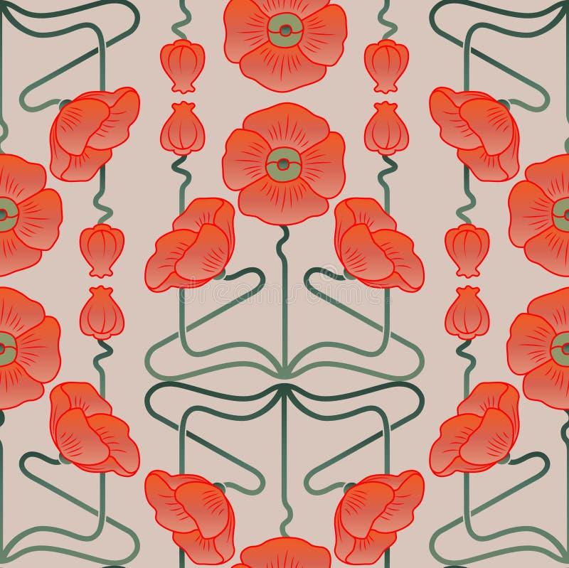 Teste padrão inspirado pelo estilo do art nouveau ilustração do vetor