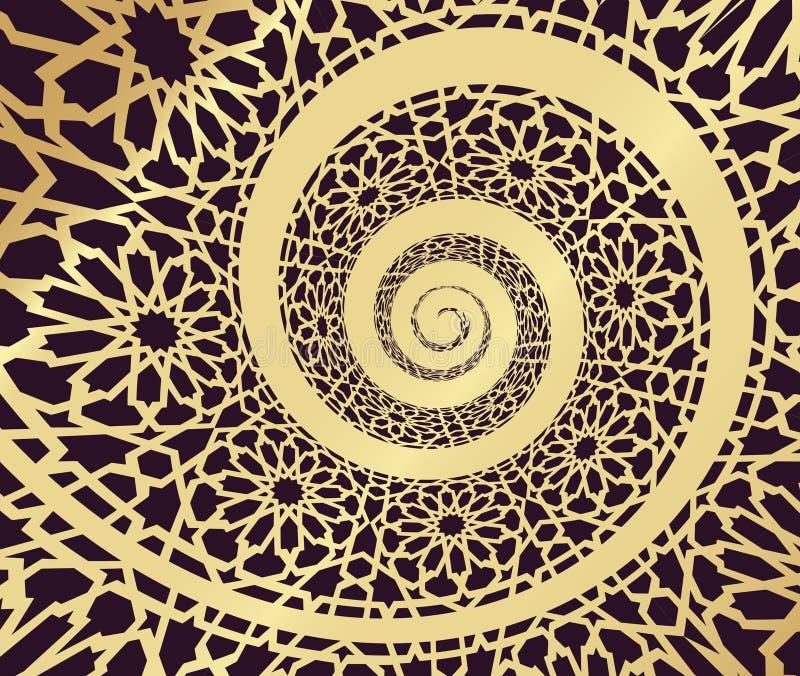 Teste padrão islâmico, rodado na forma da espiral 3d ilustração do vetor